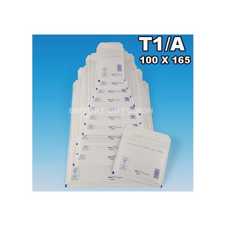 200 ENVELOPPES BULLES T1 (100*165mm) BLANCHES