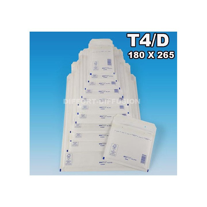 100 ENVELOPPES A BULLES T4 D (175 x 265 mm) BLANCHES