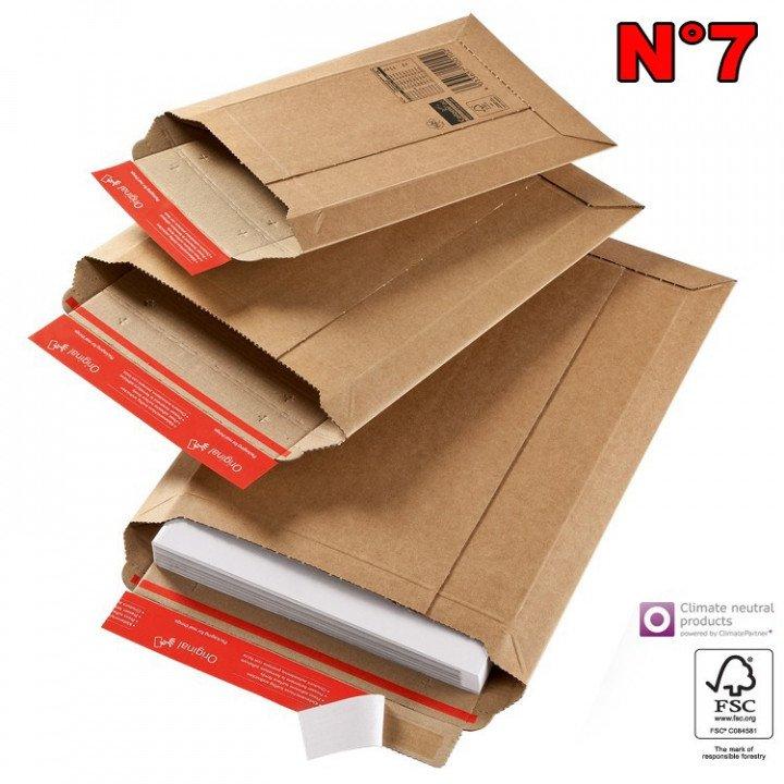 20 Enveloppe cartonnée N°7 (290*400) pochette d'expédition carton ondulé