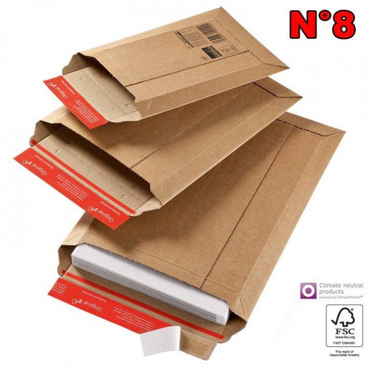 20 Enveloppe cartonnée N°8 (340*500) pochette d'expédition carton ondulé