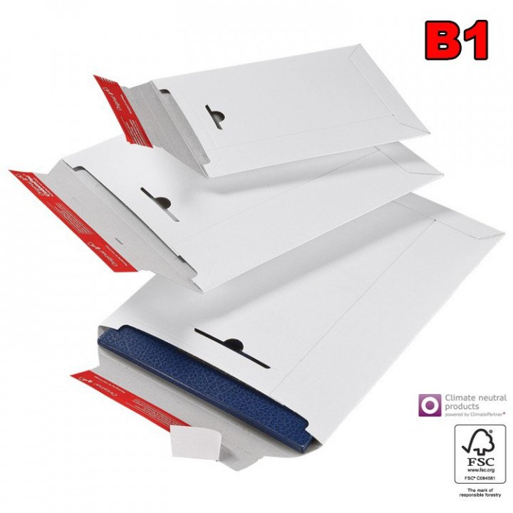 20 enveloppe cartonnée blanche B1 170x245mm