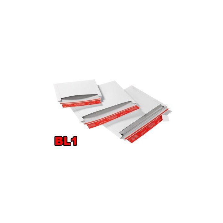 Enveloppe carton (X20) blanche BL1 227x160mm ouverture latérale