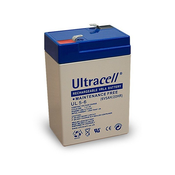 ULTRACELL UL5-6 batterie au plomb 6V 5AH 70x47x106mm