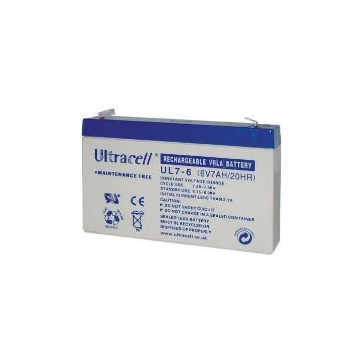 ULTRACELL UL7-6 batterie au plomb 6V 7AH 151x34x100mm