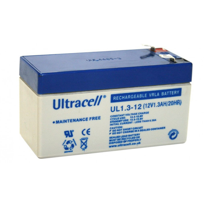 ULTRACELL UL1.3-12 batterie au plomb 12V 1.3AH 97x43x58mm