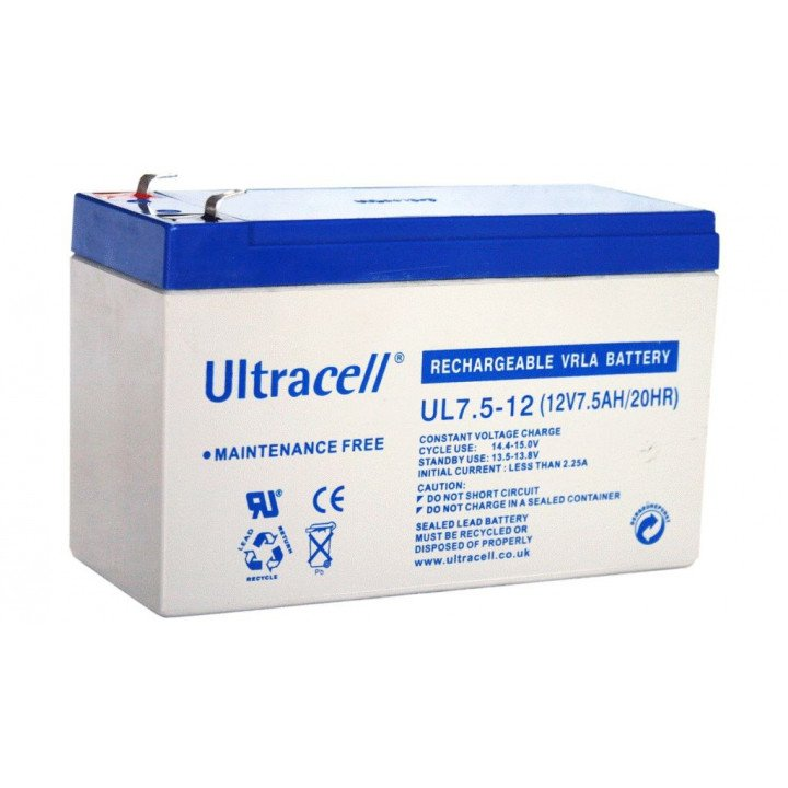 ULTRACELL UL7.5-12 batterie au plomb 12V 7,5AH 151x65x99mm