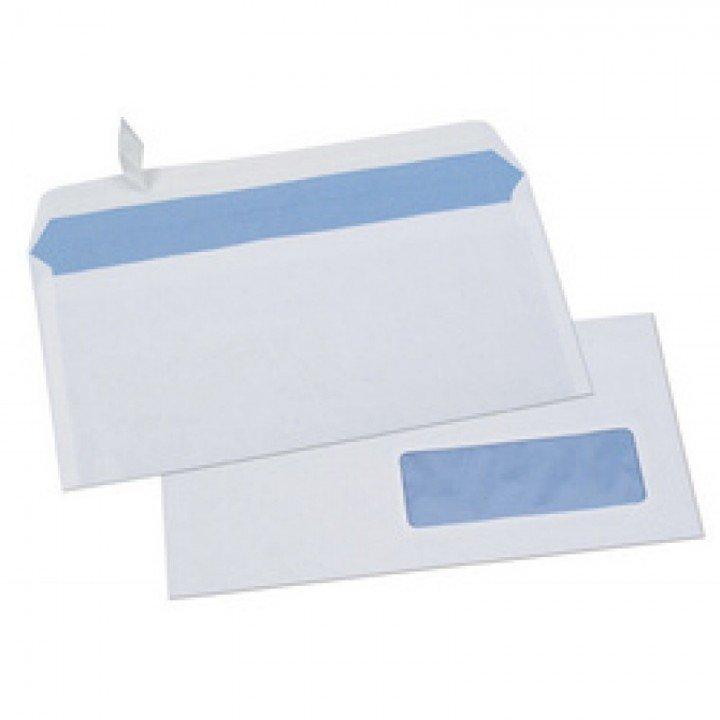 1000 Enveloppes fenêtre Format DL 110 x 220 auto adhésives