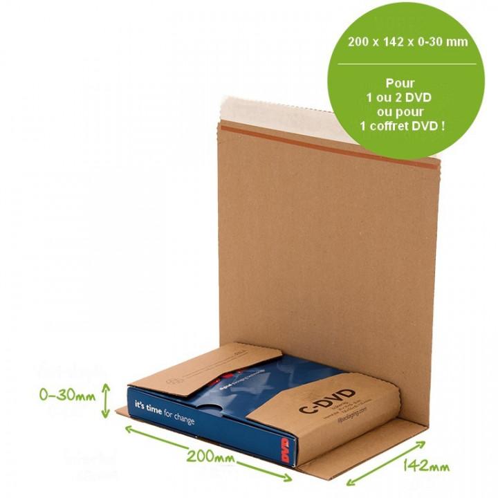 100 étuis postaux carton format C-DVD pour simple DVD ou coffret