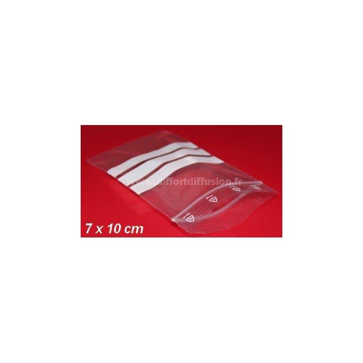 1000 sachets plastiques Zip 70x100 mm avec bandes blanches