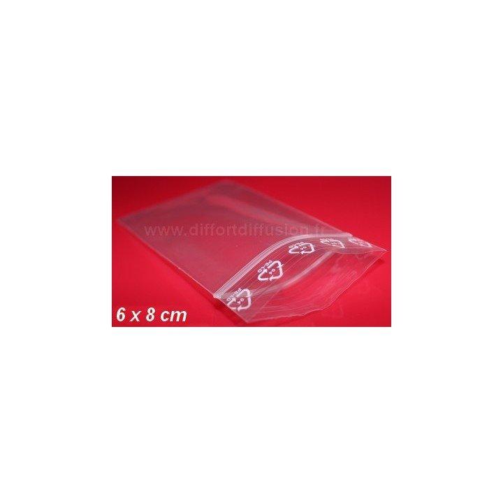 1000 sachets plastiques Zip 60x80 mm