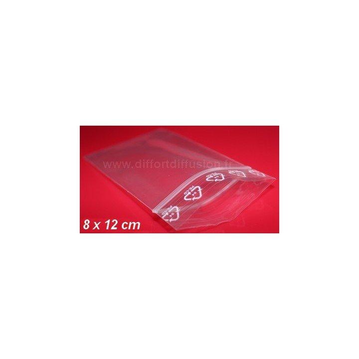 1000 sachets plastiques Zip 80x120 mm (sans trou de suspension)