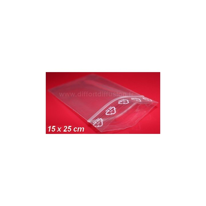 1000 sachets plastiques Zip 15 x 25cm