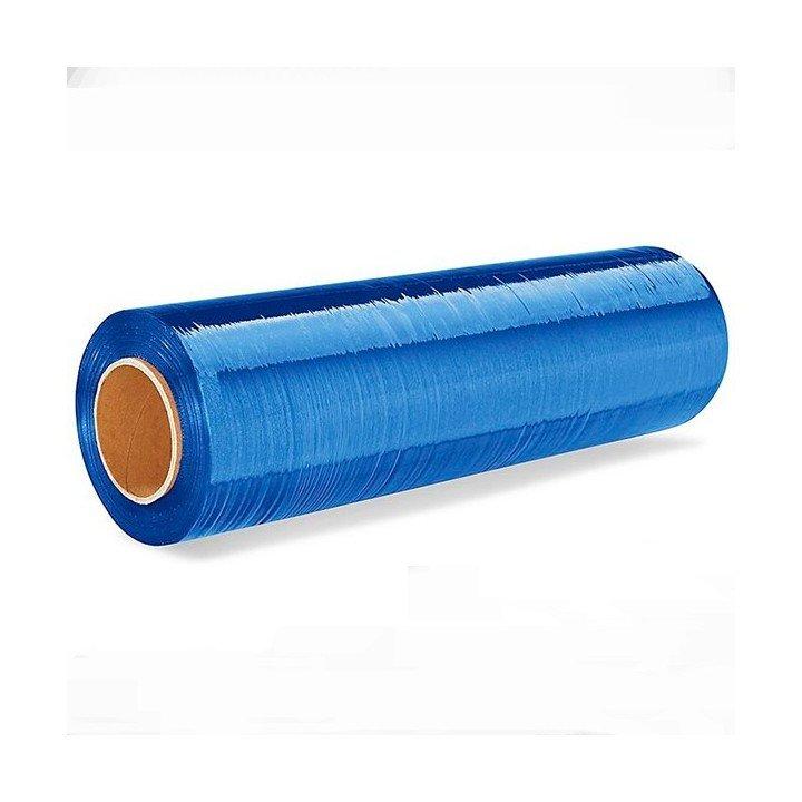 bobine rouleau film palette étirable bleu translucide 50cm x300m 17µ (450)