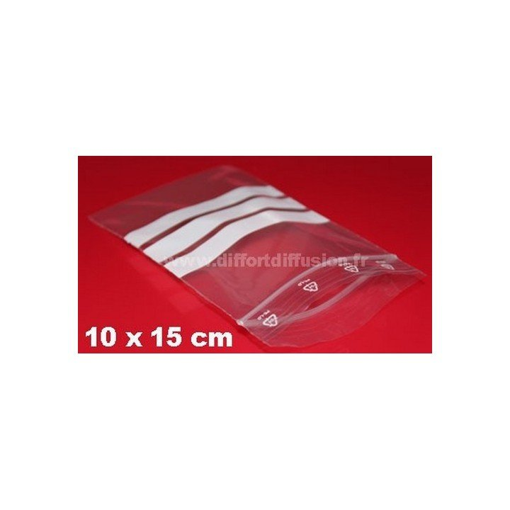 sachets plastiques Zip 100x150 mm avec bandes blanches