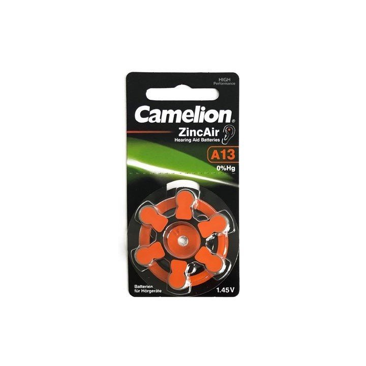 30 piles auditives Camelion N°13 / A13 ZINC AIR