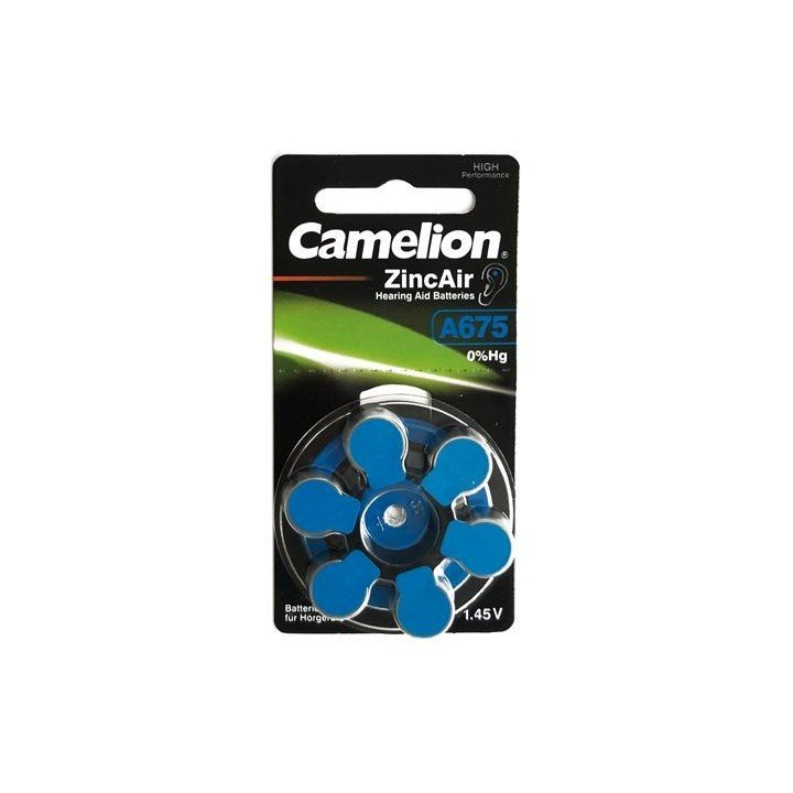 30 piles auditives Camelion N°675 / A675 ZINC AIR