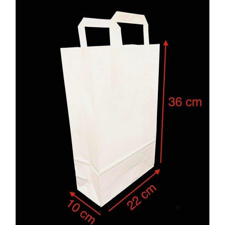 Sac papier kraft BLANC avec poignées plates 220x100x360mm