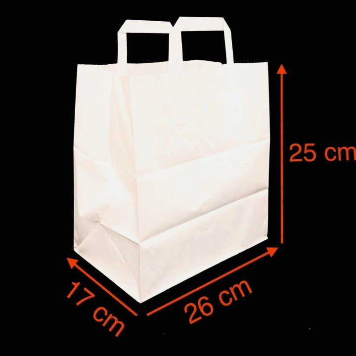 Sac papier kraft BLANC avec poignées plates 260x170x250mm