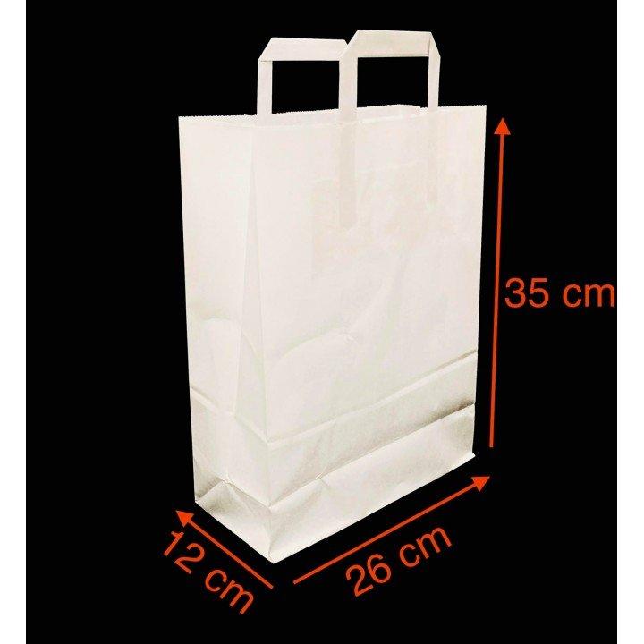 Sac cabas kraft blanc sachet papier avec poignées plates 260x170x250mm