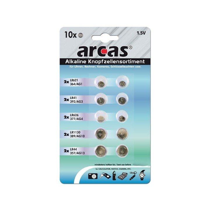 DESTOCKAGE Blister 10 piles boutons alcalines mixte ARCAS 01.2020