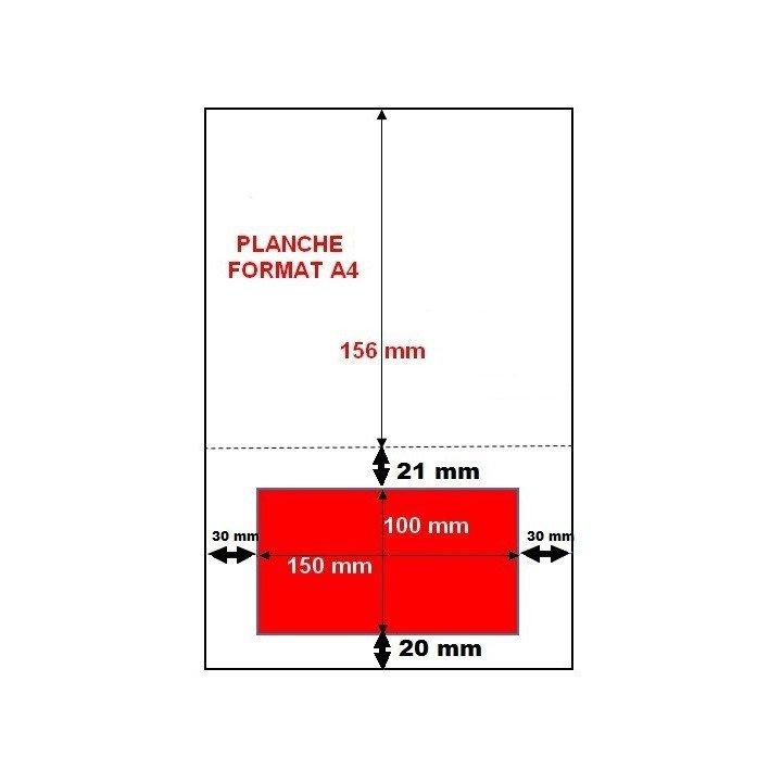 100 Feuilles et étiquettes autocollantes intégrées 100 x 150 mm