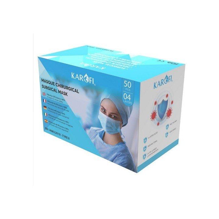 50 masques de protections chirurgicaux (EN 14683 TYPE 2)