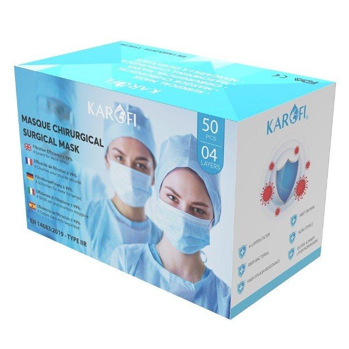 Lot de 50 masques chirurgicaux (EN 14683 TYPE IIR 2R)
