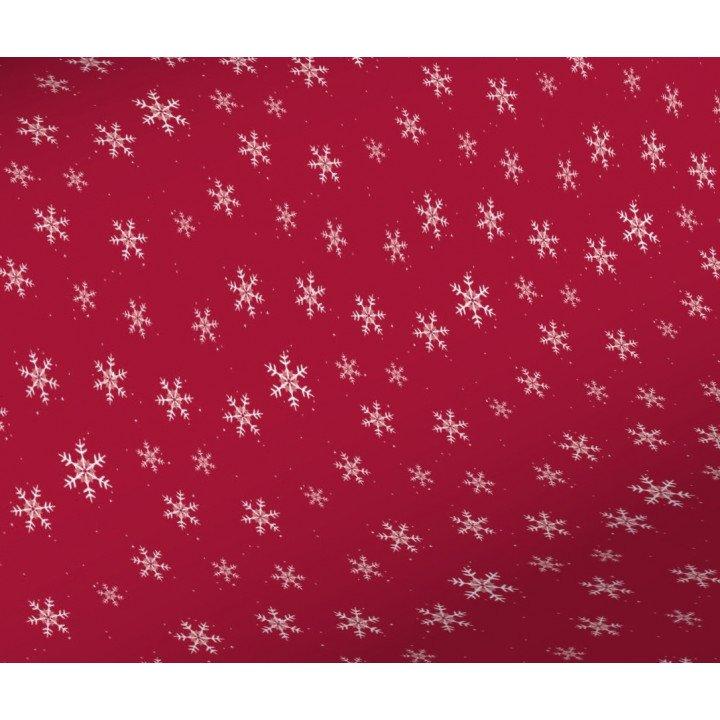 1x Rouleau papier cadeau rouge 0,70 x 50m Noël Flocons blancs