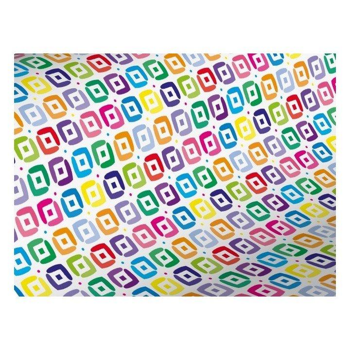 Rouleau papier cadeau 0,70cm x 50m 60g Carré multicolore (H3906)