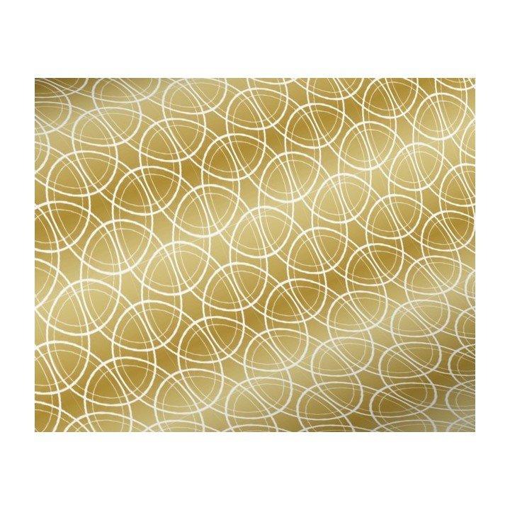 papier cadeau 50m 60g Doré cercles blancs H3973