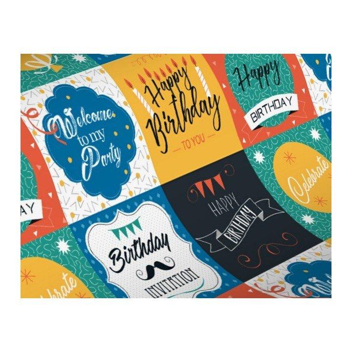 1x Rouleau papier cadeau 0,70cm x 50m 60g  HAPPY BIRTHDAY (H3989)