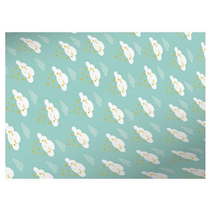 Papier cadeaux avec nuage coeur turquoise H3977