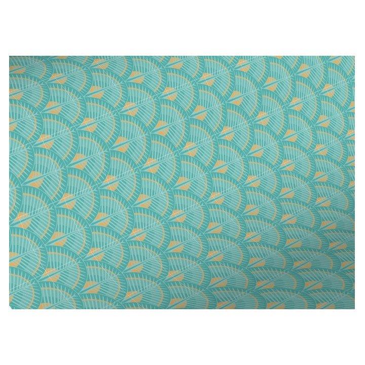 Rouleau papier cadeau écailles turquoise 50m 80g X7045