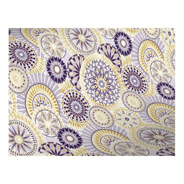 papier cadeau MANDALA X3997fleurs mandala violet jaune