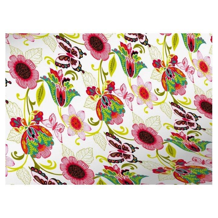papier cadeau motif fleurs et papillons R3502)