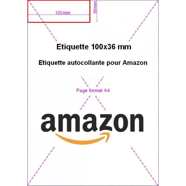 1000 étiquettes adhésives intégrées facture Amazon 100x36mm