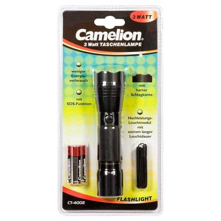 DESTOCKAGE Camelion ct4002 3 watt sos Lampe de poche CT-4002 (3 WATT) avec 3 piles alcalines AAA LR03