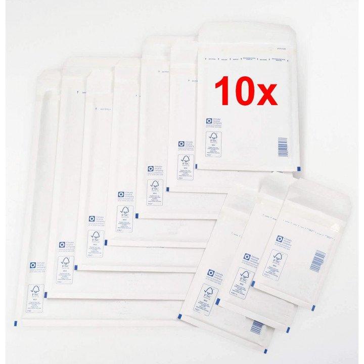 10x enveloppes à bulles BLANCHES (dimensions au choix)