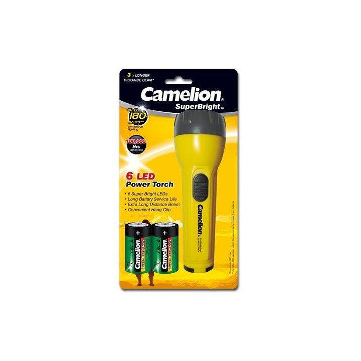 DESTOCK Lampe de poche torche Camelion SuperBrigt 6LED + 2 piles R20 D (10-2017)