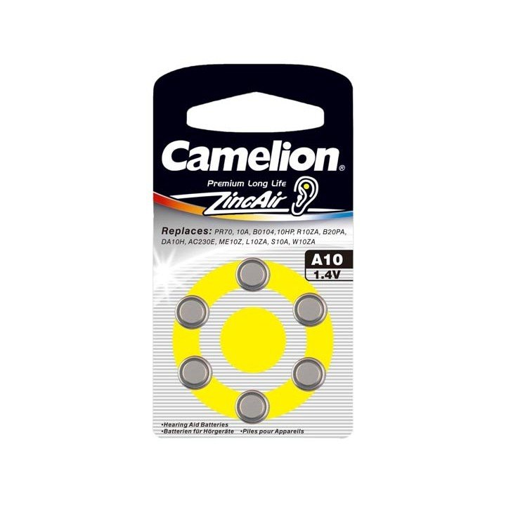 30 piles auditives Camelion N°10 / A10 ZINC AIR