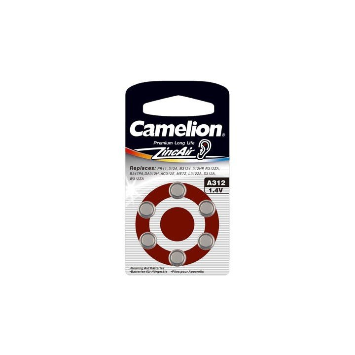30 piles auditives Camelion N°312 / A312 ZINC AIR