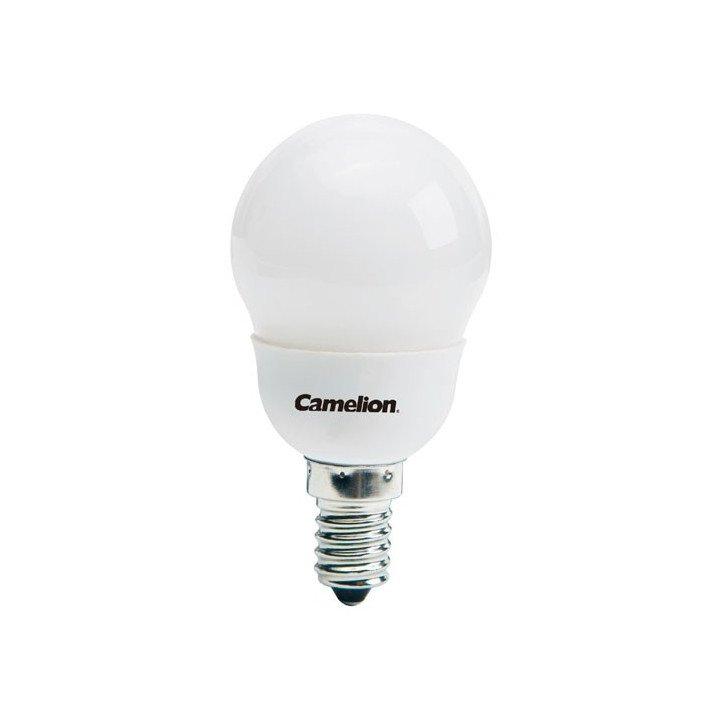 Ampoule mini globe 7W E14  (2700K) Fluocompacte Camelion