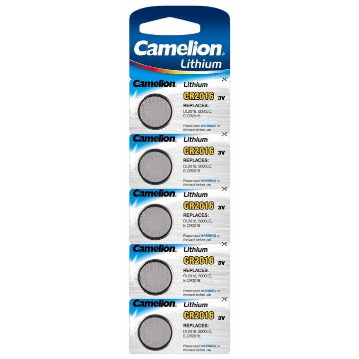Lot de 5 piles lithium CR-2016 Camelion