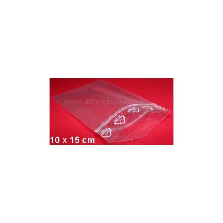 1000 sachets plastiques Zip 100x150 mm avec trou de suspension