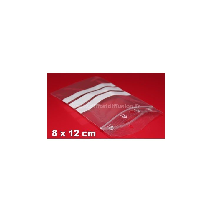 1000 sachets Zip 80x120 mm avec bandes blanches + trous de suspension