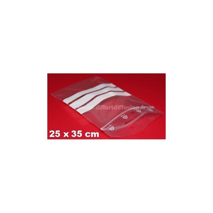 200 sachets Zip 250x350 mm avec bandes blanches + trous de suspension