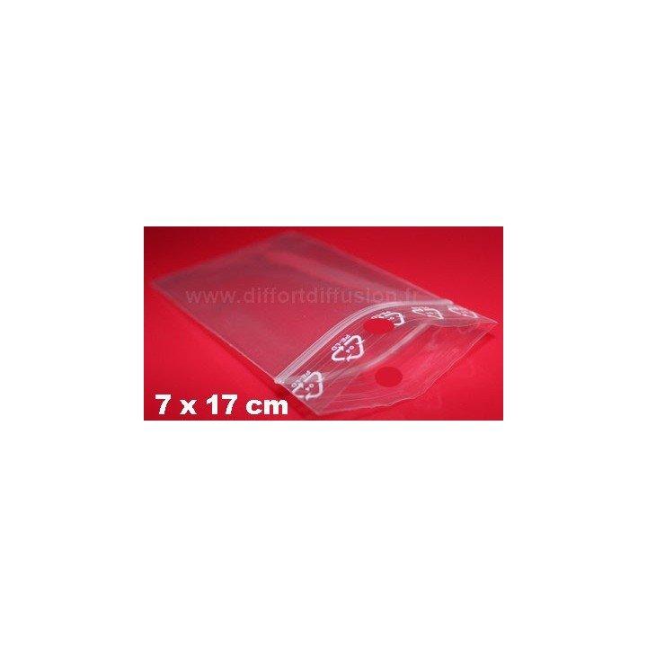 1000 sachets plastiques Zip 70x170 mm avec trou de suspension