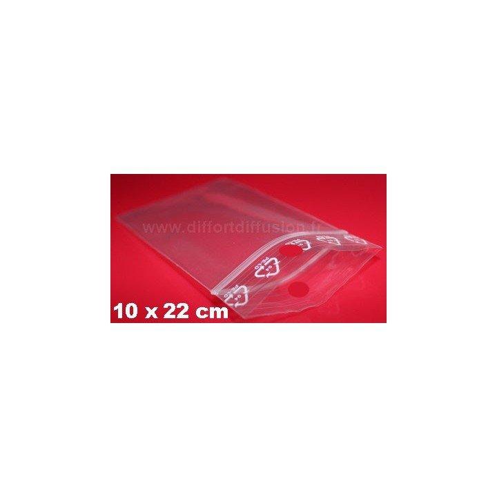 1000 sachets plastiques Zip 100x220 mm avec trou de suspension