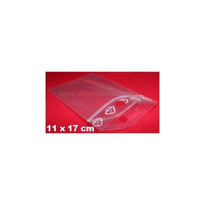 1000 sachets plastiques Zip 110x170 mm avec trou de suspension