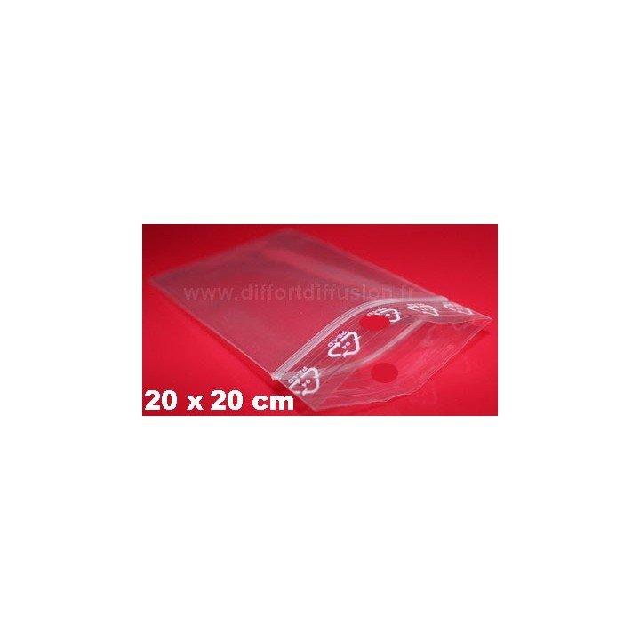 1000 sachets plastiques Zip 200x200 mm avec trou de suspension